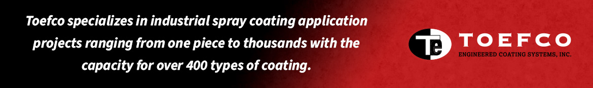 Toefco specializes in industrial spray coating application projects ranging from one piece to thousands with the capacity for over 400 types of coating.